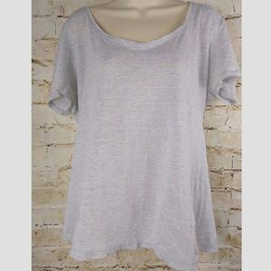 Eileen Fisher Striped Shirt Gray White Sz M Linen
